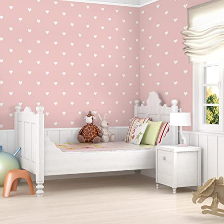 Non-woven Wallpaper - no.YK59 White Hearts on Pink - Mural Wide ...