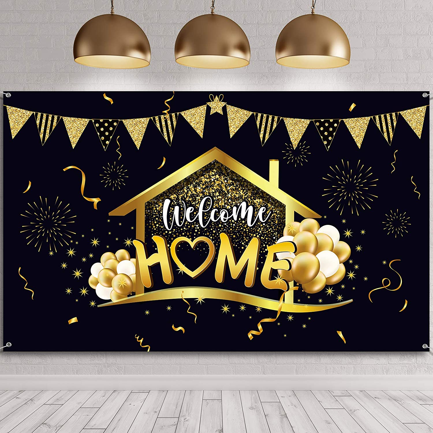Welcome Home Party Decorations Supplies Homecoming Party Backdrop Welcome Back Home Banner Return Home Photography Background for Family Party Home Decoration Photo Booth Black Gold, 70.8 x 43.3 inch