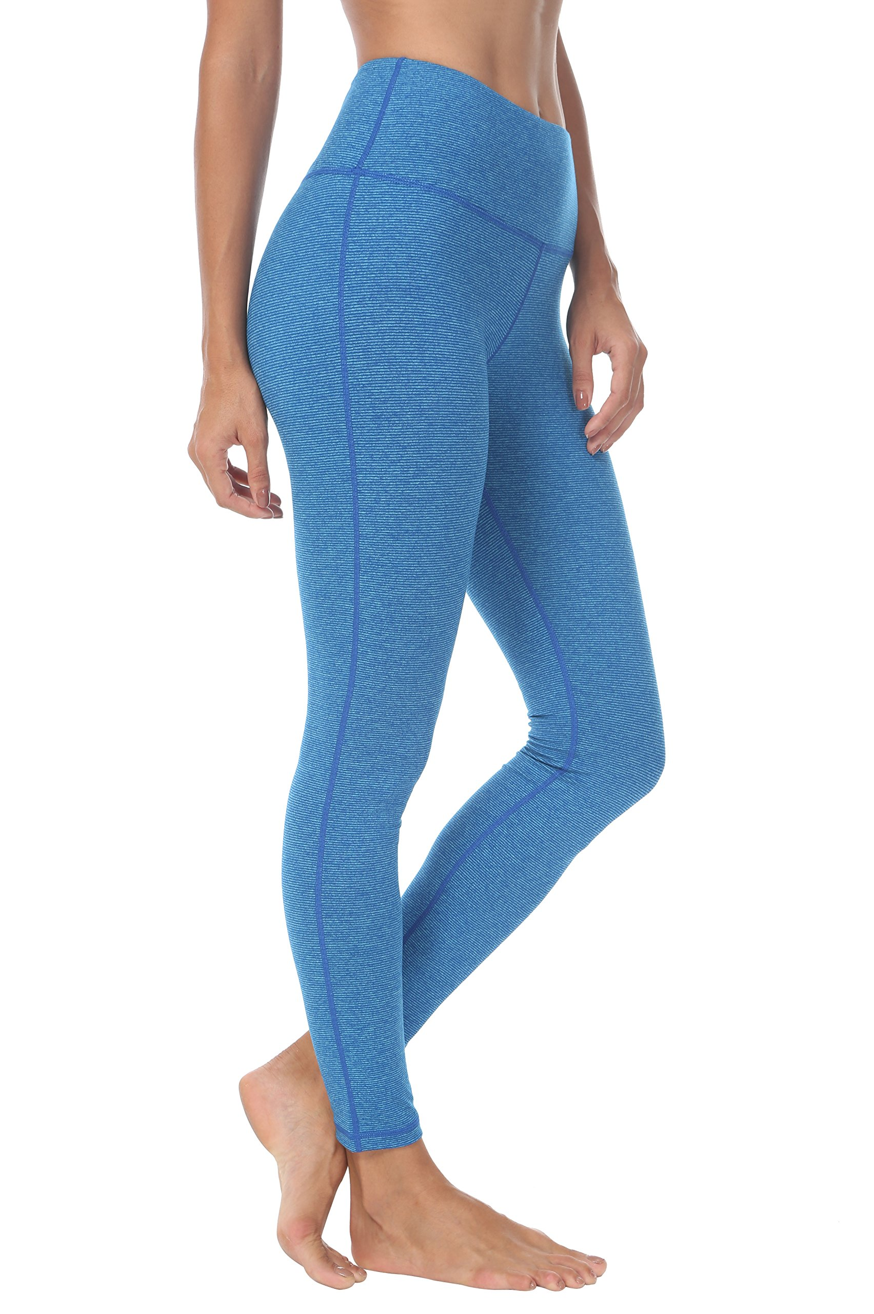 Queenie Ke Women High Waist Hidden Pockets Sport Legging Yoga Pants Running Tights Size M ColorBlue Stripes