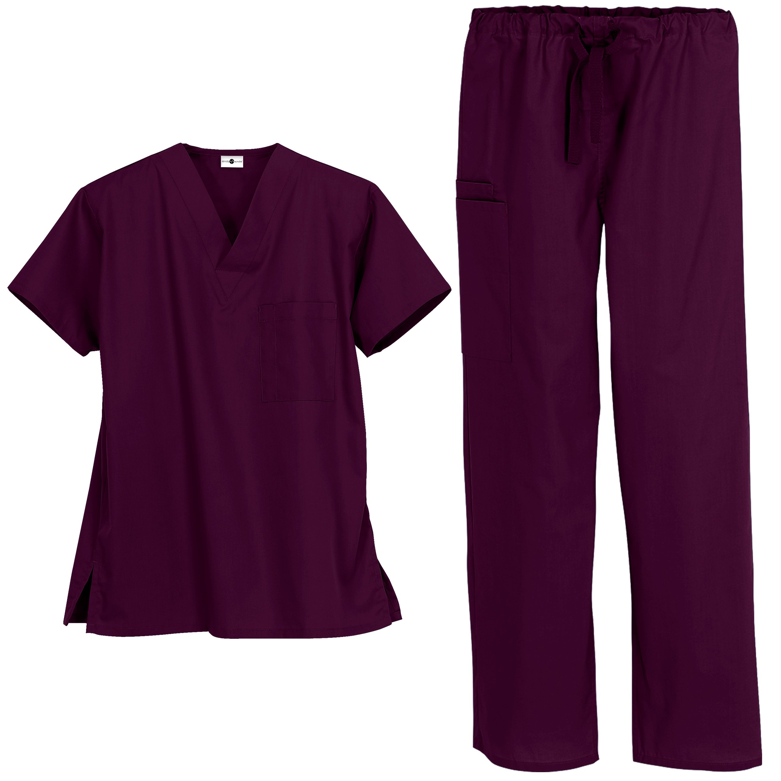 Unisex Medical Uniform Scrub Set – Includes V-Neck Top and Drawstring Pant (XS-3X, 13 Colors) (X-Large, Wine)