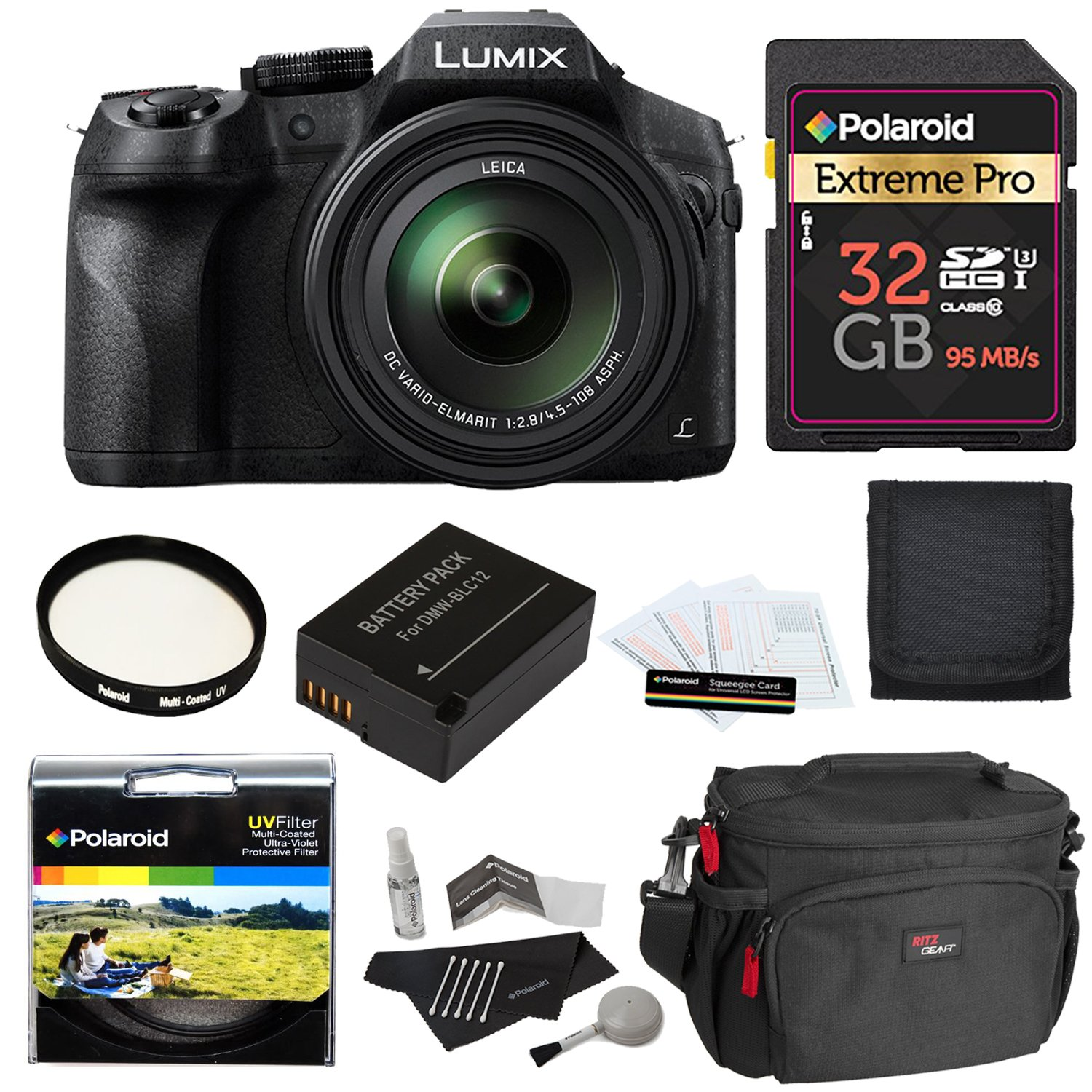 Panasonic LUMIX DMC FZ300 4K, Point and Shoot Camera with Leica DC Lens 24X Zoom Black + Polaroid Accessory Kit + 32GB Class 3 SD Card + Ritz Gear Bag + Spare Battery + Filter + Cleaning Kit + More