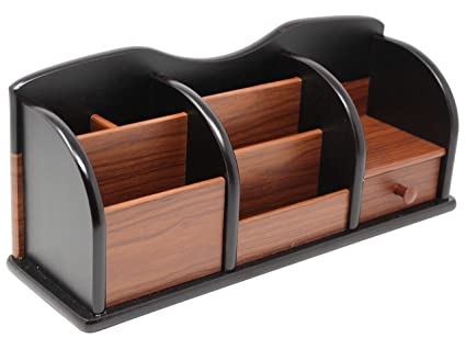 Cherry Brown Wooden Office Desk Organizer With Multiple Shelves/Racks And 1  Drawer For Office