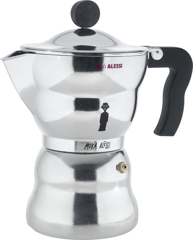 Alessi AAM33/6 Moka - Cafetera italiana en aluminio, mango y perilla termoplástica de resina, 6 tazas: Amazon.es: Hogar