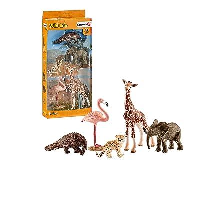 Schleich Wild Life - Incluye Cría de Guepardo, Pangolín Gigante, Flamenco, Cría de Jirafa y Cría de Elefante: Juguetes y juegos