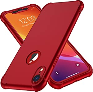 ORETECH Designed for iPhone XR Case, with[2 x Tempered Glass Screen Protector] 360 Full Body Shockproof Anti Scratch Protection Cover Hard PC Soft Rubber Silicone Case for iPhone XR 6.1'' 2018 Red