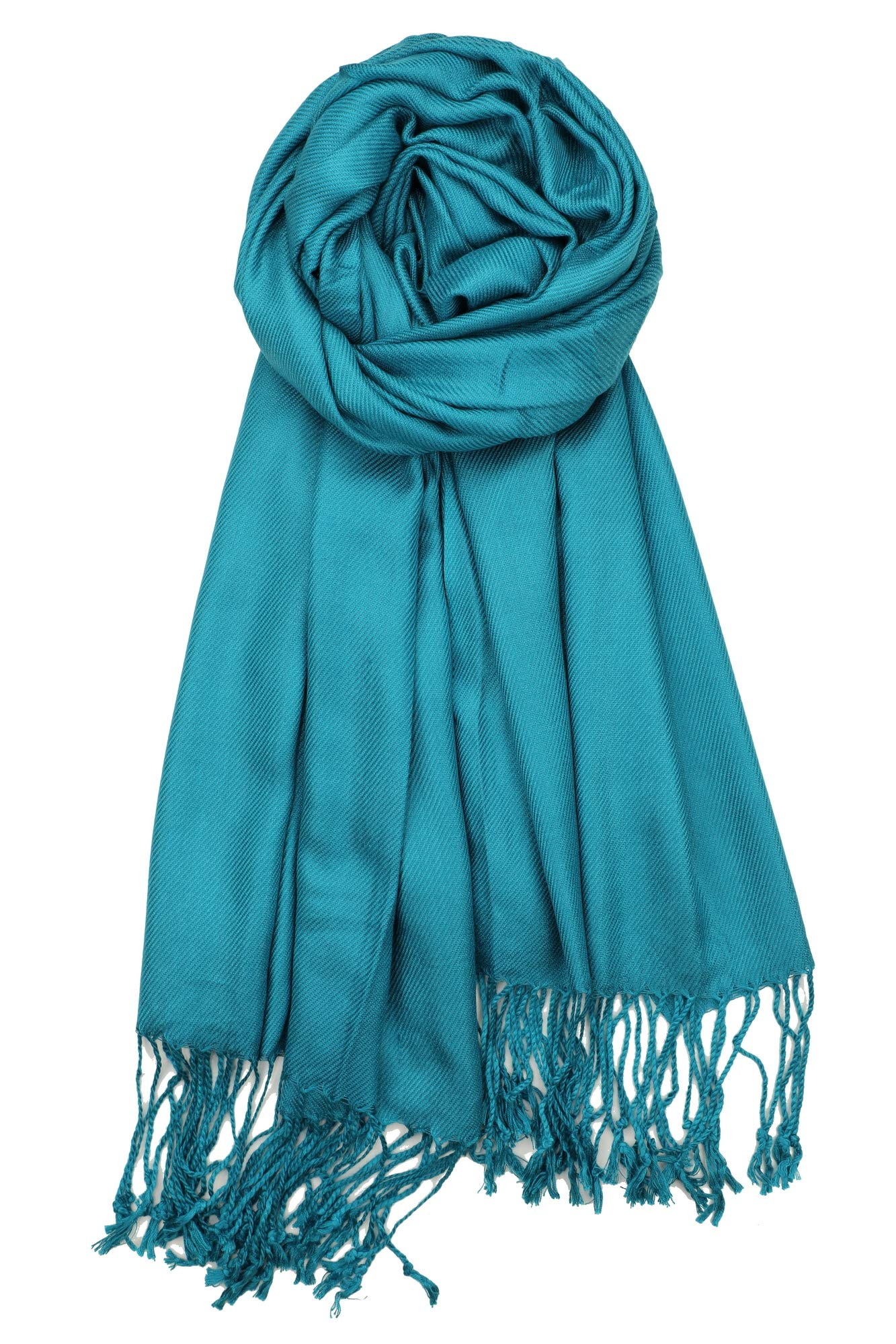 Achillea Soft Silky Solid Pashmina Shawl Wrap Scarf for Wedding Bridesmaid Evening Dress … (Teal)