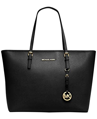 0d8989d66618 Amazon.com  Michael Kors Jet Set Travel Top Zip Tote Handbag in Black Gold   Shoes