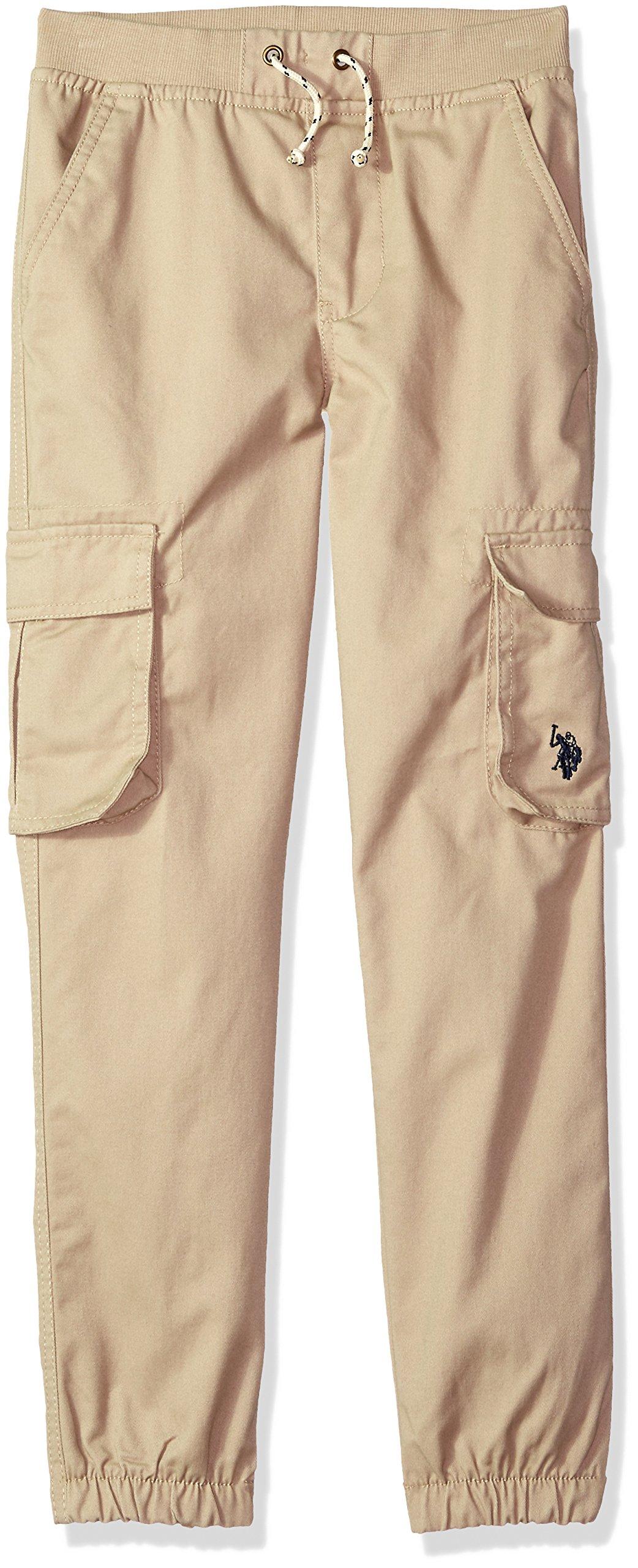 U.S. Polo Assn. Toddler Boys' Twill Jogger Pant, Ribbed Waistband Light Khaki, 3T