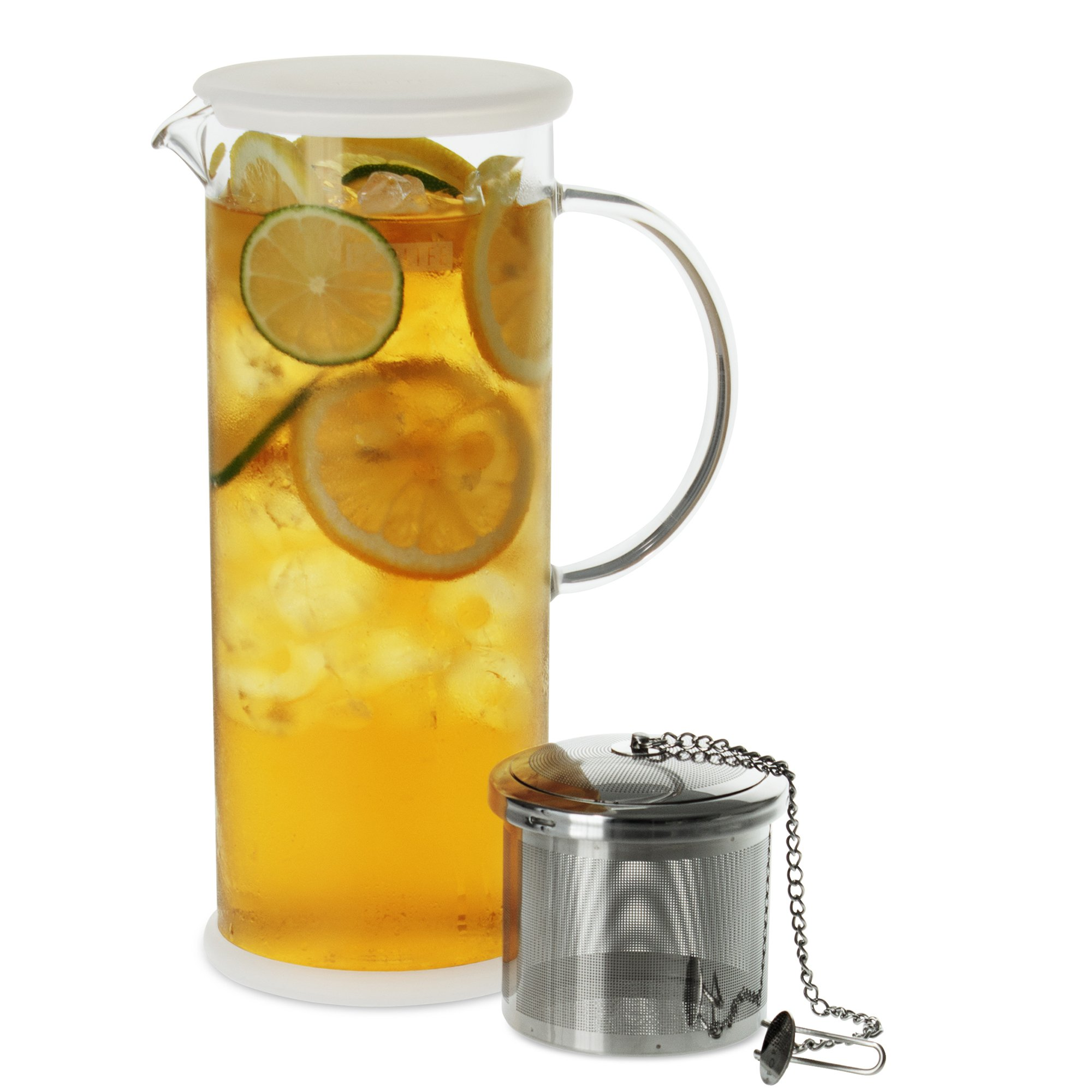 FORLIFE LUCENT Glass Iced Tea Jug with Capsule Infuser, 48-Ounce, Frost