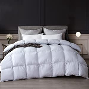 Luzern Goose Down and Feather Comforter All Year Around Natural Pewter Color Queen Size Duvet Insert-Extreme Soft Organic Cotton, 56OZ Medium Weight