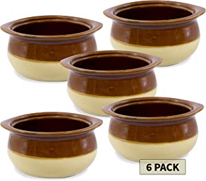 6 French Onion Soup Crocks Bowls - 10 OZ Oven Safe Crocks