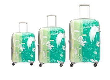 32ec7b04f950 Skybags Polycarbonate Printed Hard Sided Luggage Bag (Green) Set of ...