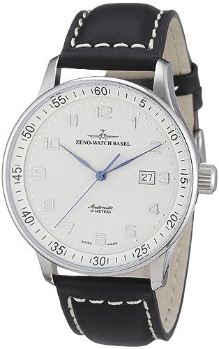 122cda30a26ec Zeno Watch Basel Men's Automatic Watch X-Large Pilot P554-e2 with Leather  Strap: Amazon.co.uk: Watches