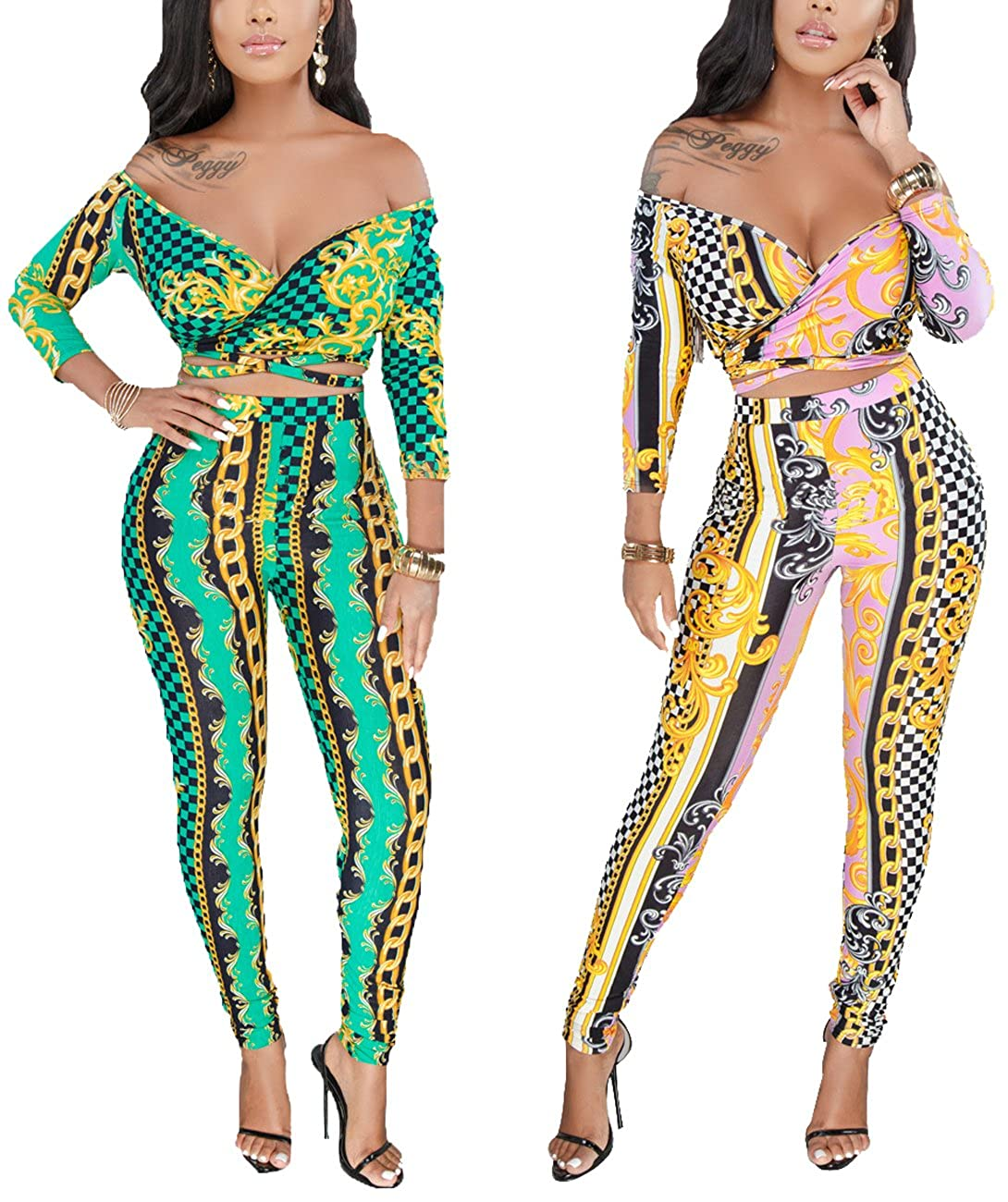 dd5b1afa15b Women Sexy Bodycon Jumpsuits Long Sleeves Crop Top High Waist Skinny Long  Pants Bottom Sets 2 Pieces Outfits at Amazon Women s Clothing store