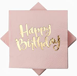 Pink Happy Birthday Cocktail Napkins 100Counts 3ply /5'' Disposable Rose Gold Foil Paper Napkins Perfect for Happy Birthday Party Everyday Birthday for Girls