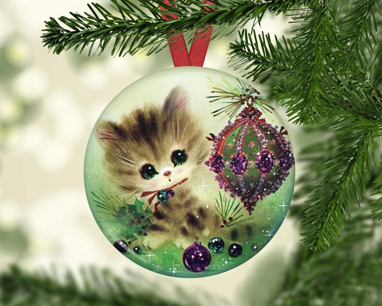 hanjear59 Adorno de Gato para árbol de Navidad, decoración de ...