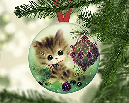 Old Fashioned Christmas Tree Decorations.Amazon Com Hanjear59 Cat Ornament For Christmas Tree