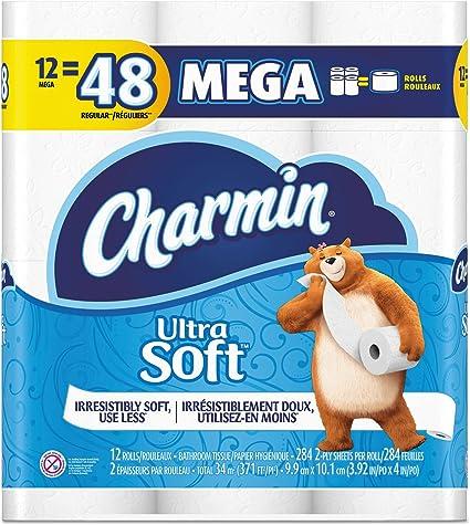 Amazon Com Charmin 1680378 Ultra Soft Bathroom Tissue 12 Mega Rolls Health Personal Care