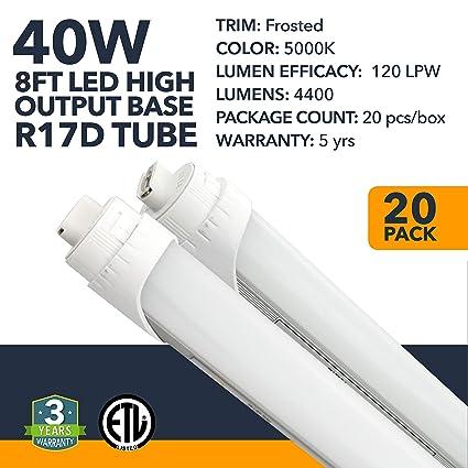 8FT LED Tube Light - R17D Base - High Output Warehouse LED Two-Ended Ballast Byp Led Tube Light Wiring Diagram on