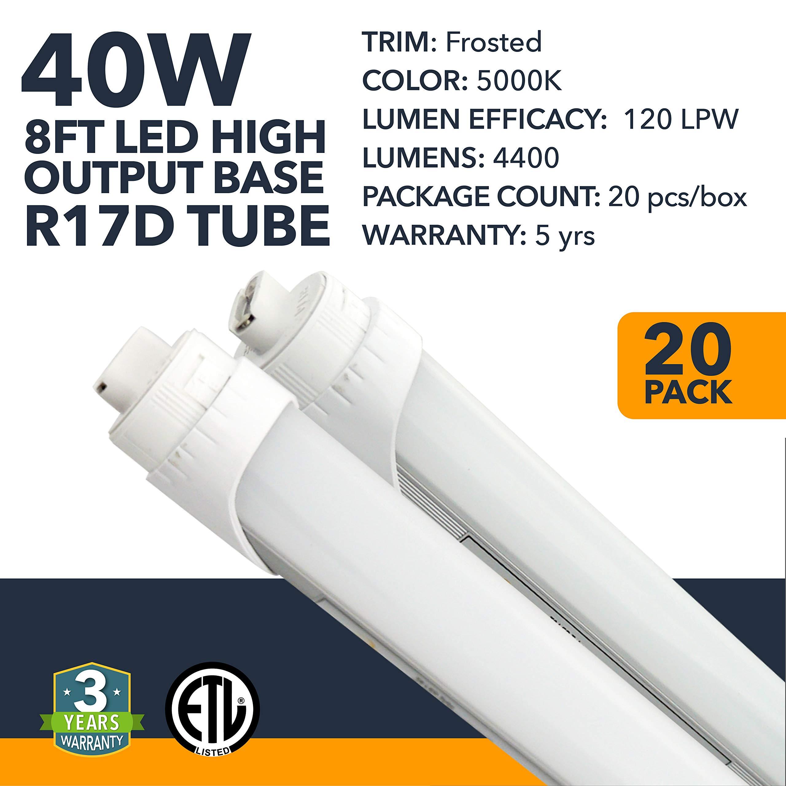 8FT LED Tube Light - R17D Base - High Output Warehouse LED Two-Ended Bypass Tube Light, 4400 Lumens - Residential or Commercial Garage Workshop Tube Light - 3 Year Warranty - Frosted - 5000K - 20PK
