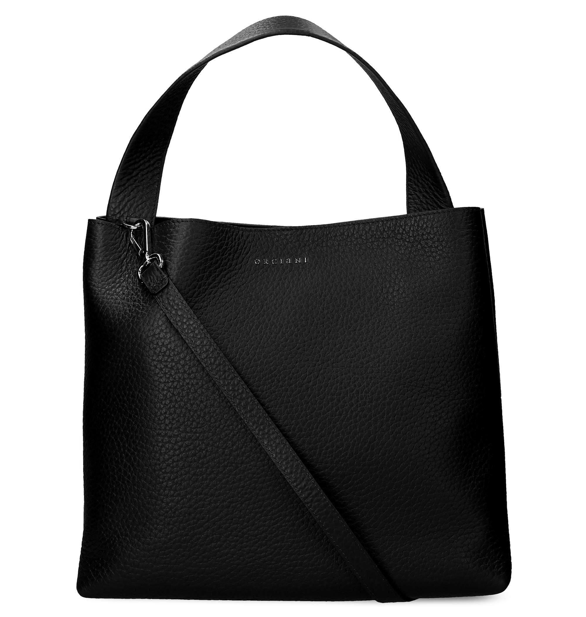 Orciani Women's B02031softnero Black Leather Tote