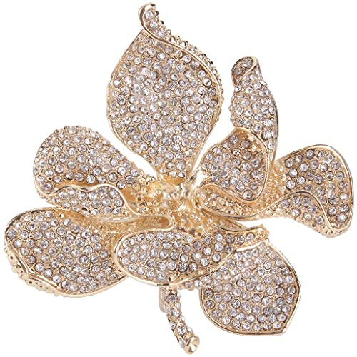 bfa0c5137 EVER FAITH Women's Austrian Crystal Orchid Flower Petal Brooch Clear Gold -Tone