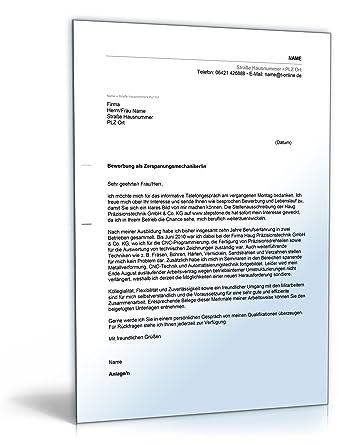 Anschreiben Bewerbung Zerspanungsmechaniker Word Dokument