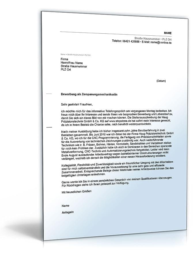 Anschreiben Bewerbung Zerspanungsmechaniker [Word Dokument ...