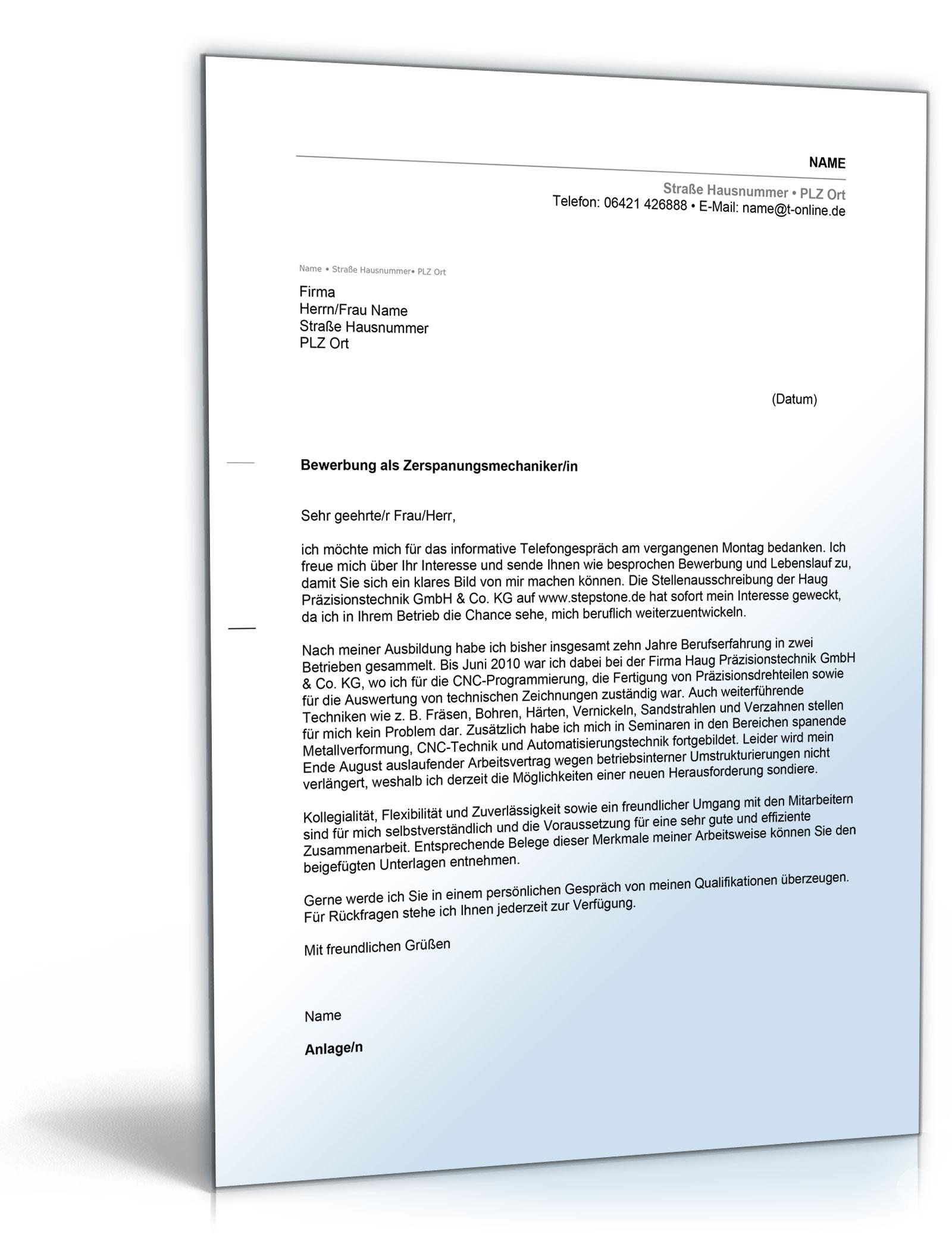 Bewerbung Als Zerspanungsmechaniker | marlpoint