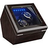 High End Double Watch Winder for Rolex with Soft Flexible Watch Pillows, Blue Led Light, Open and Shut Down Featured, Pine Bark Pattern, Two Extra Over Size Watch Pillows Included