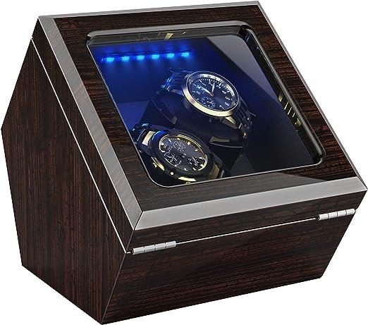 Caja Relojes Automáticos para Relojes, Iluminación LED Incorporada, Motor Japonés Silencioso, Cojines Suaves y Flexibles, Corteza de Pino (para 2 Relojes): Amazon.es: Relojes