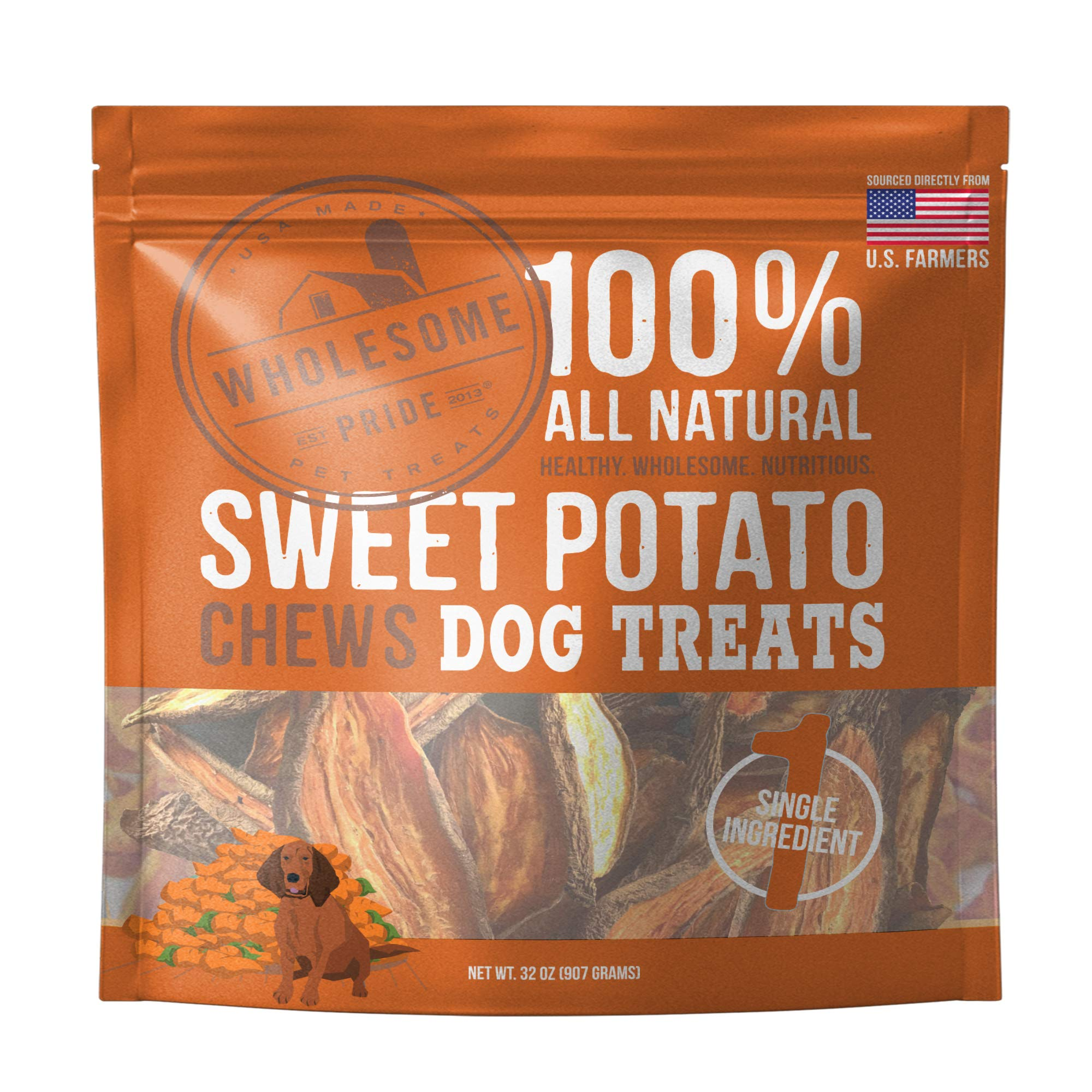 Wholesome Pride Sweet Potato Chews Dog Treats, 32 oz - All Natural Healthy - Vegan, Gluten and Grain-Free Dog Snacks - Made in USA by Wholesome Pride
