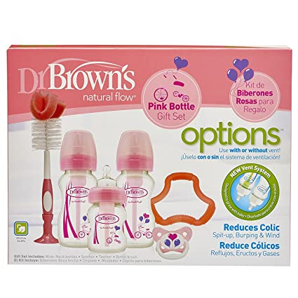 Set de biberones con cuello ancho, de color rosa, marca Dr. Browns