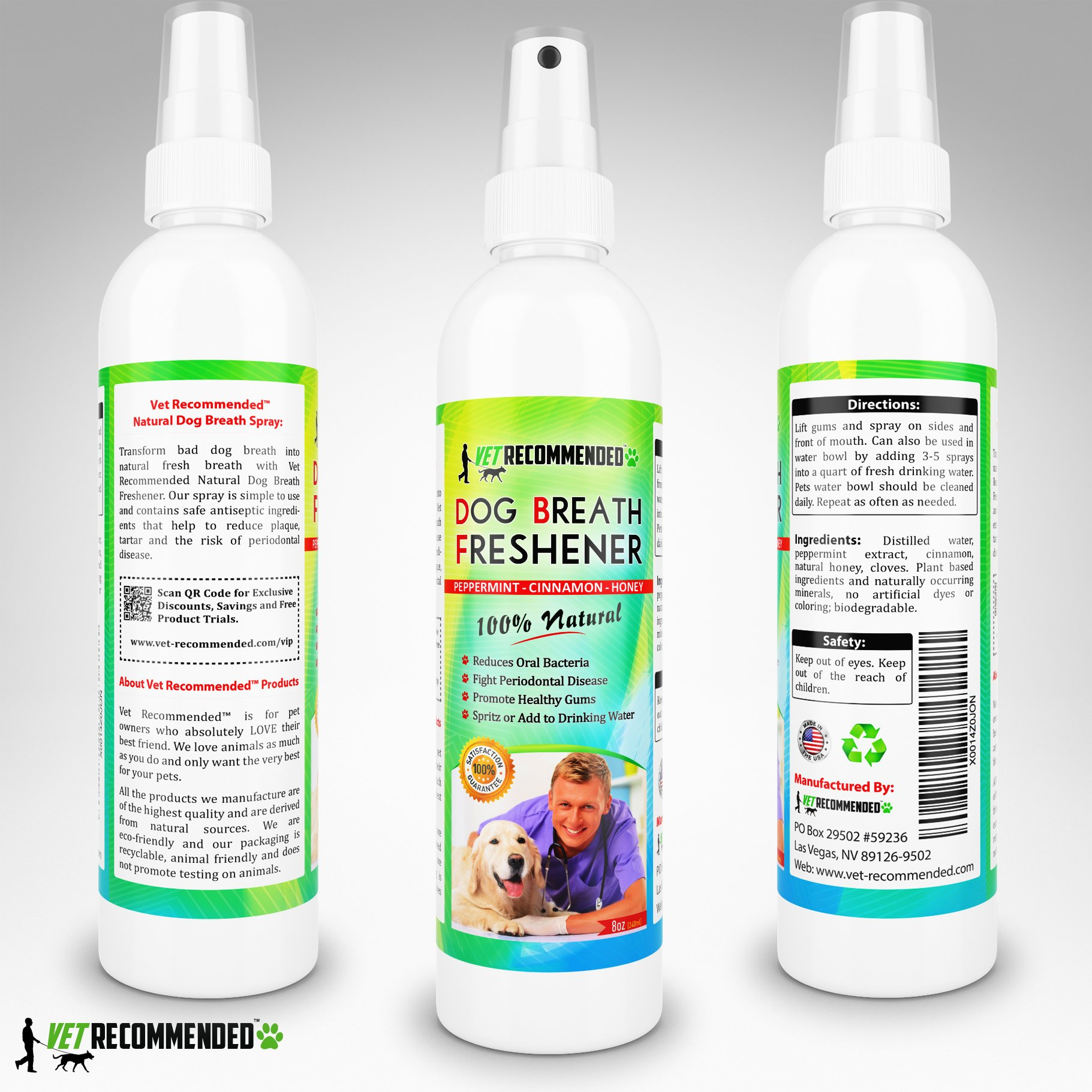 Vet Recommended Dog Breath Freshener & Pet Dental Water Additive (8oz/240ml) All Natural - Perfect for Bad Dog Breath & Dog Teeth Spray. Spray in Mouth or Add to Pet's Drinking Water. USA Made. by Vet Recommended (Image #5)