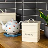 Harbour Housewares Industrial Biscuit Tin - Vintage Style Steel Kitchen Storage Caddy with Lid - Cream