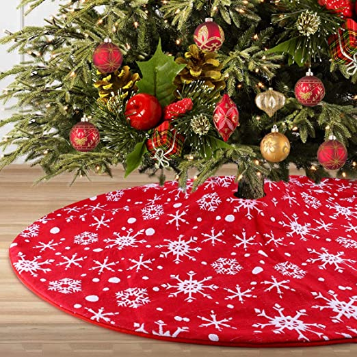 Amazon Com Yuboo Red And White Christmas Tree Skirt 50 Inches
