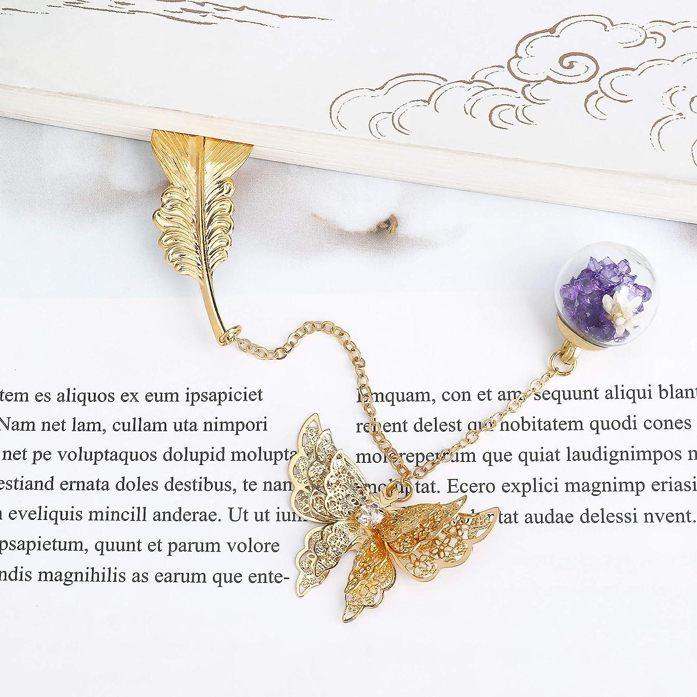 Id/éal Cadeau pour Adultes et Enfants Marque-page de Plume en M/étal avec Papillon et Fleur S/èche /Éternelle Perles de Verre Pendentif Argent