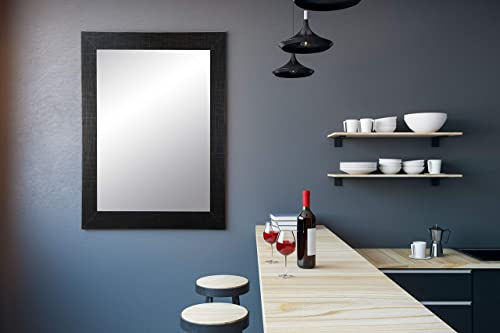 BrandtWorks Wall Mirror, 32 x 55 , Flat Scratched Black