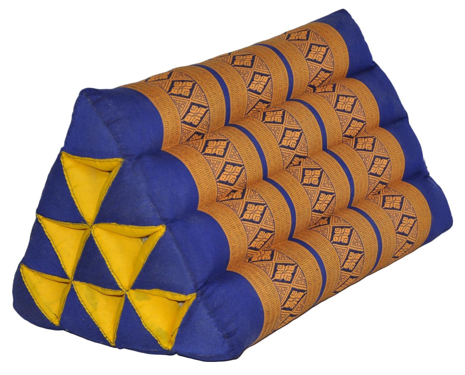 Thai triangular cushion, blue/yellow, relaxation, beach, kapok, made in Thailand. (82100)