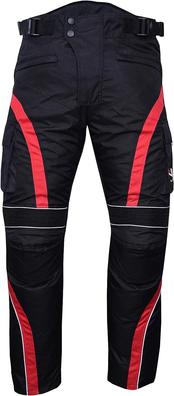Norman Motorrad Wasserdicht Cordura Textil Hose Protektoren Schwarz Rot Bekleidung