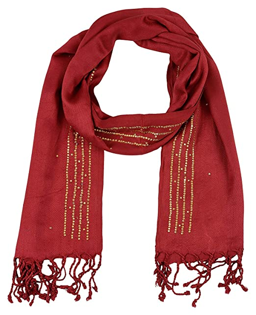 dd55b0033806b Image Unavailable. Image not available for. Color: PSS Premium Quality Hand  Crafted Maroon Border Design All Season Designer Party Scarf Stoles for  women