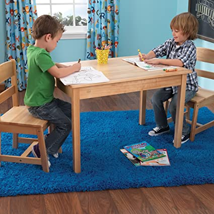 Amazon.com: KidKraft Rectangle Table And 2 Chair Set - Natural: Toys ...