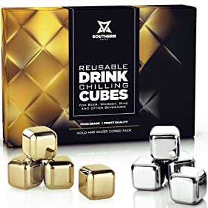 Whiskey Stones Luxury Gift Set - Stainless Steel Rocks 4 Gold + 4 Silver Combo - Reusable Ice Cubes with Barman Tongs and Freezer Tray   by Southern Chill
