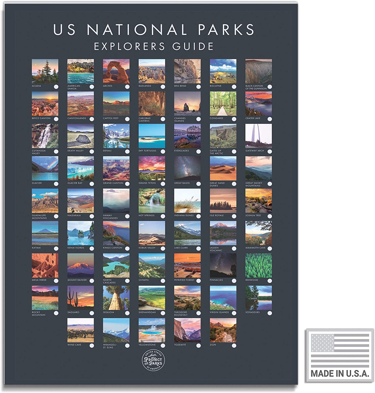 USA National Park Poster - Interactive Travel Map With All 61 US National  Parks - Made in the USA - Mark Your Travels Through Our Beautiful National  ...