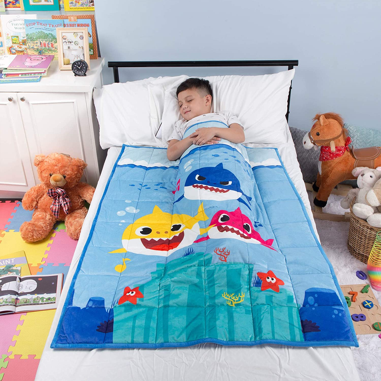 "Franco Bedding Super Soft Plush Kids Weighted Blanket with Bonus Door Knob Pillow, 36"" x 48"" 4.5lbs, Baby Shark"