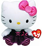 Hello Kitty - Peluche punk, 15 cm, color negro (TY 40990TY)