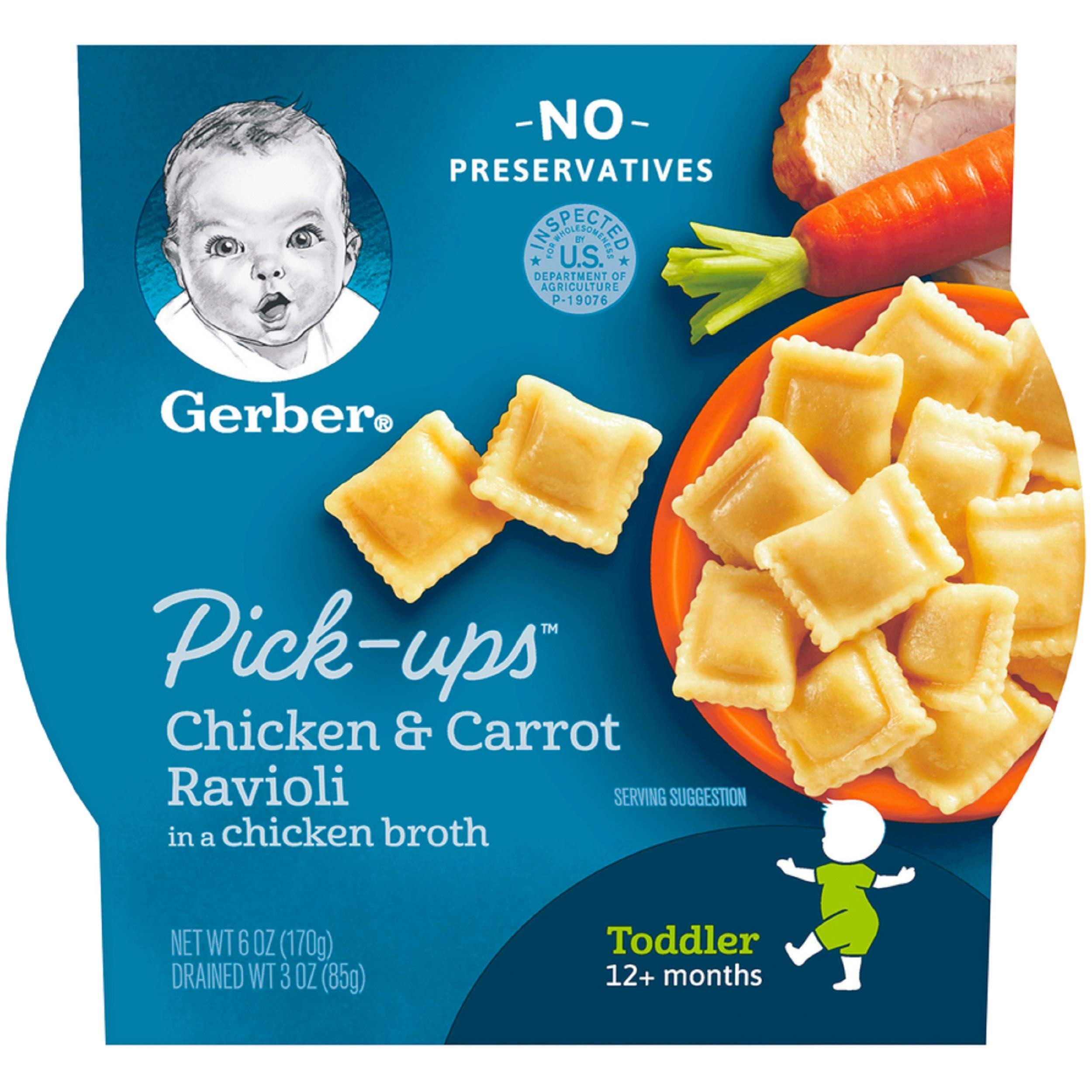 Gerber Graduates Pasta Pick-Ups Ravioli, Chicken and Carrot, 6 Ounce (pack of 8) by GERBER