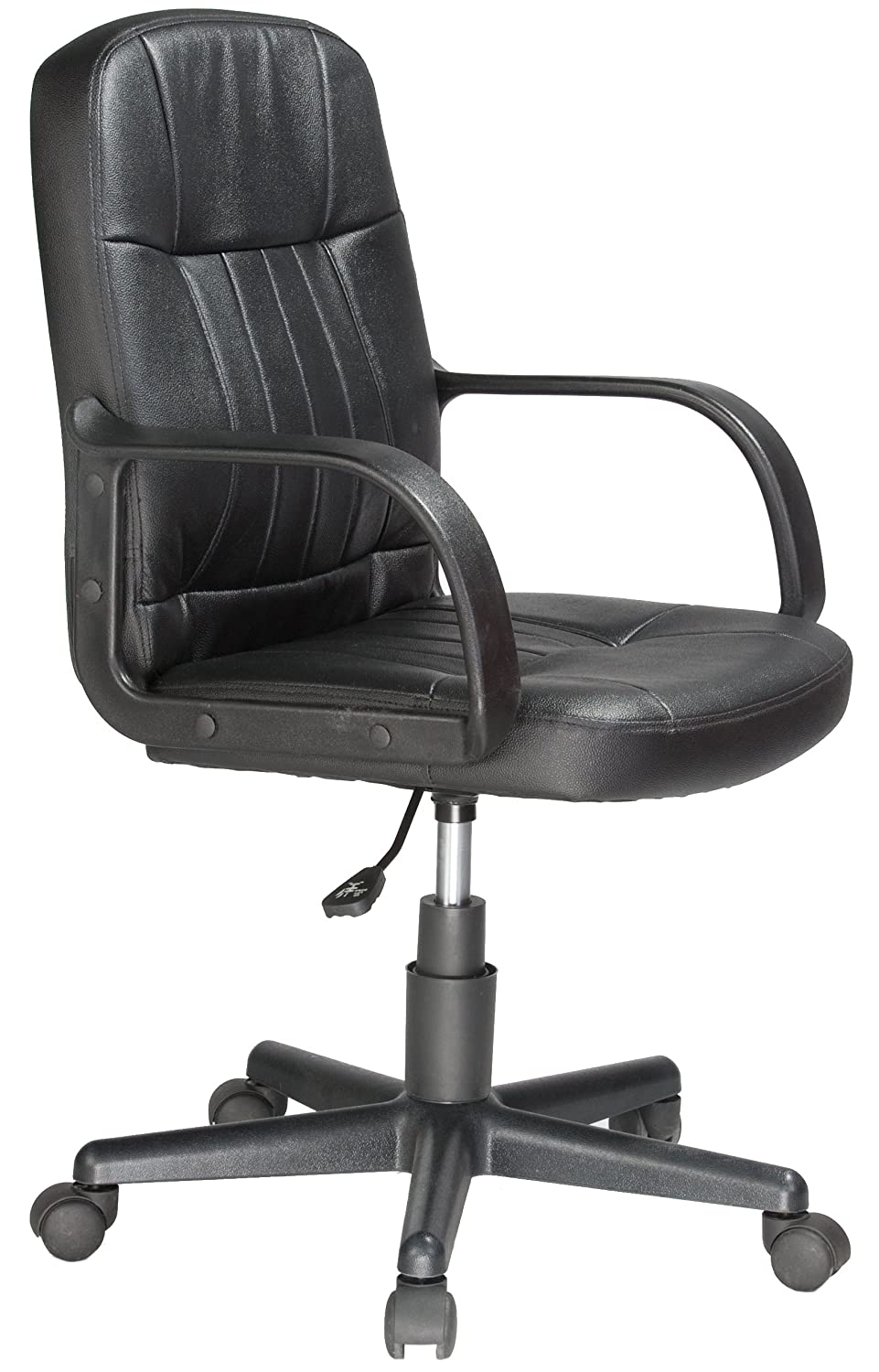 Comfort Products Leather Mid-Back Chair, Black 60-5607M