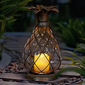Exhart Pineapple Cast Iron Lantern Battery Powered 12 LED Firefly Lantern – Outdoor Pineapple Décor Tabletop Glass Lantern in Metal Cage - Pineapple LED Metal Lantern – Clear Glass 6