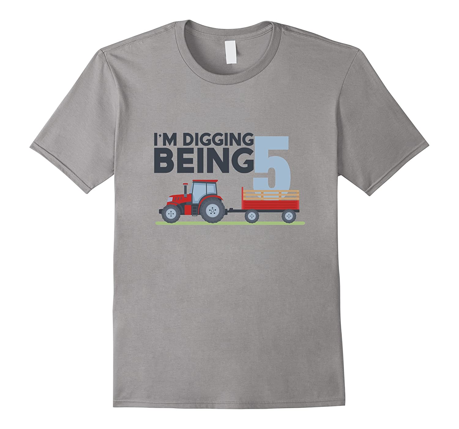 5th Birthday Tshirt Age 5 Year Old Tractor Boy Girl Shirt-FL